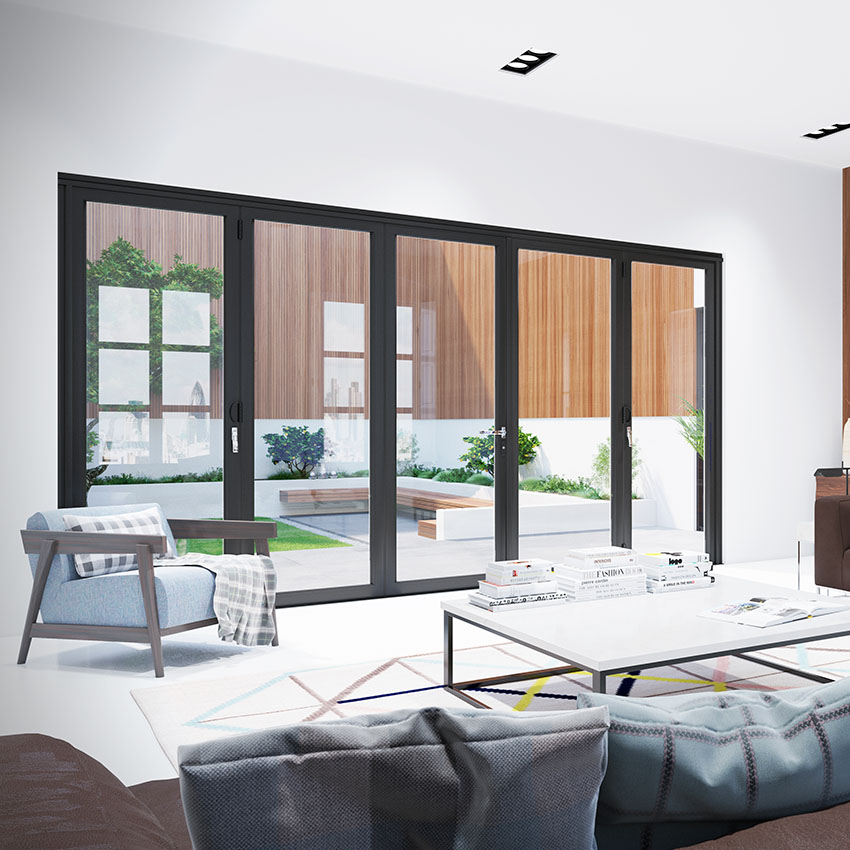 Black bifolding doors