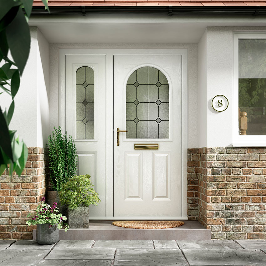 White composite, glazed door