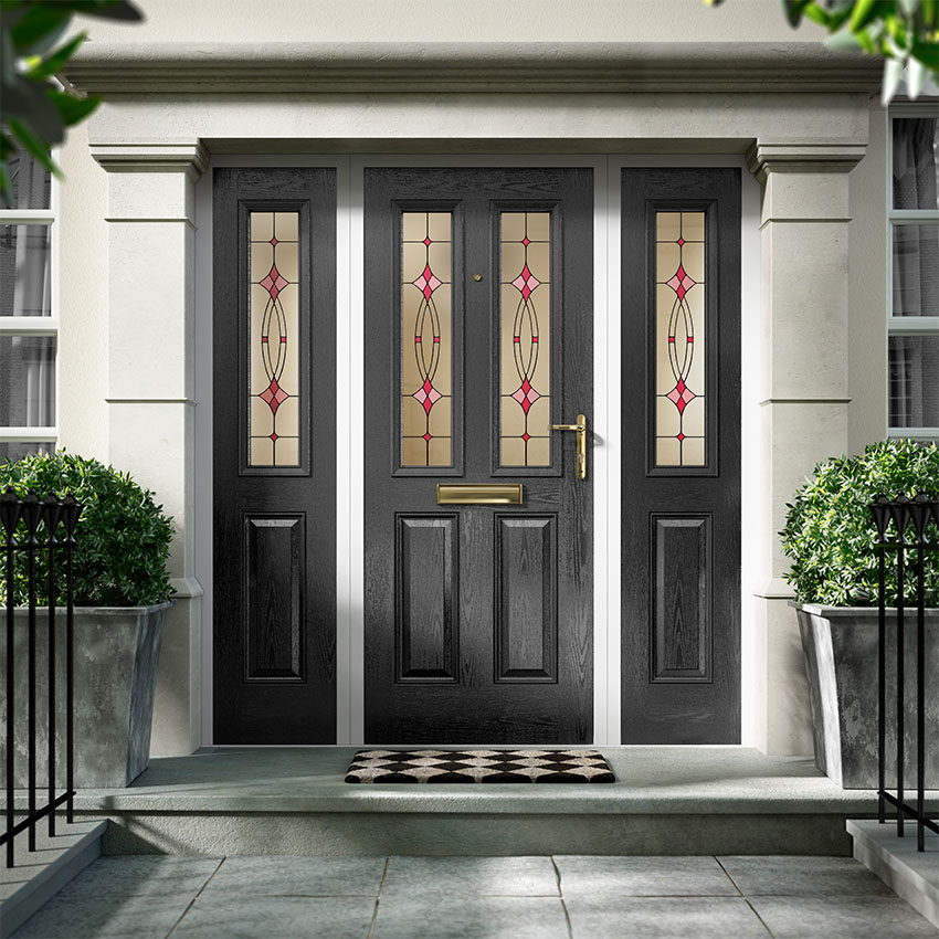 Large black composite door
