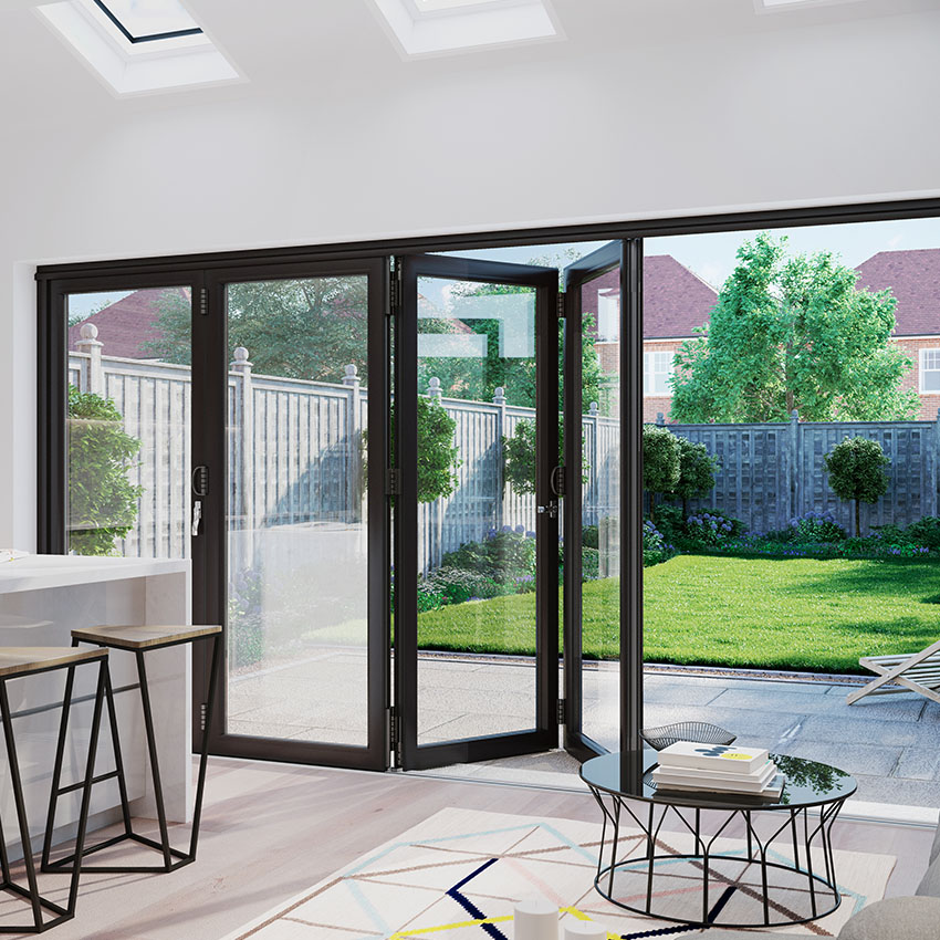 Black aluminium bifolding doors