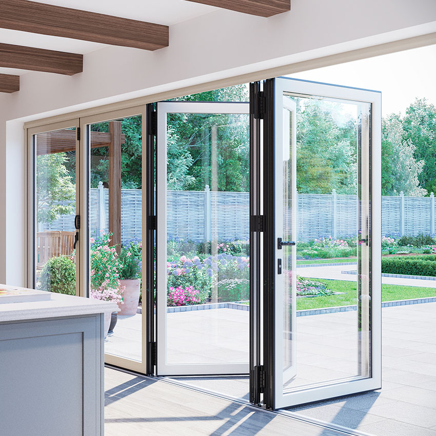 Black and white aluminium bifolding door