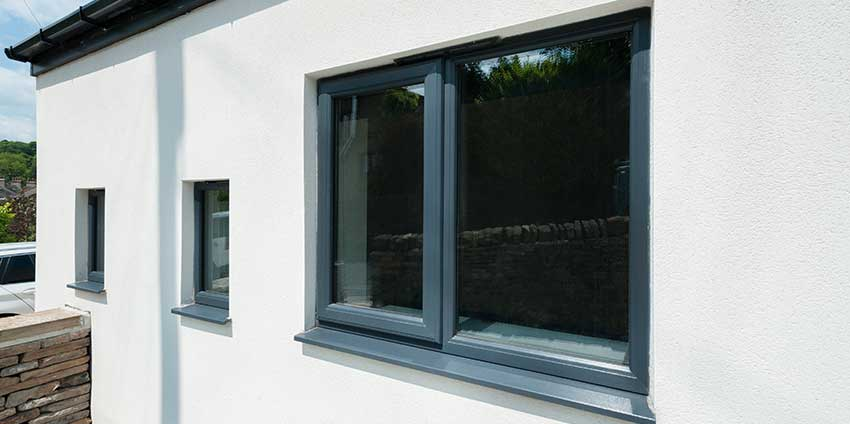 grey upvc casement window