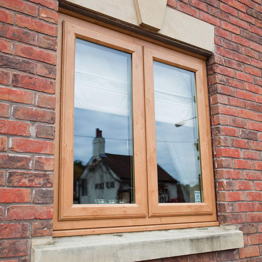 Irish oak uPVC casement window