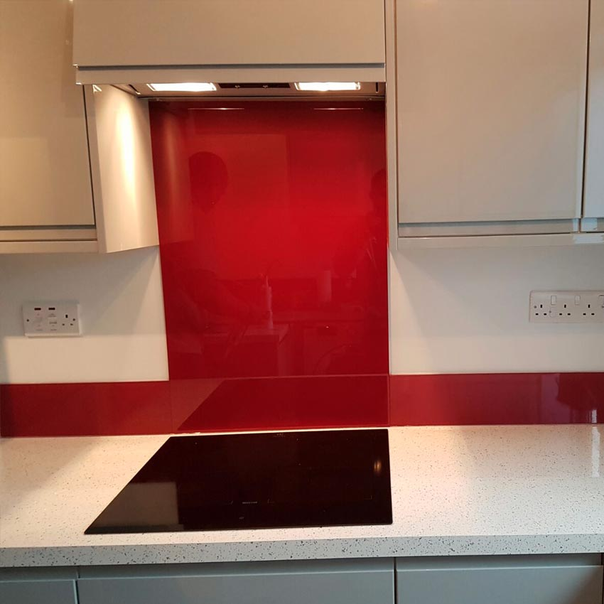 Red glass kitchen splashback