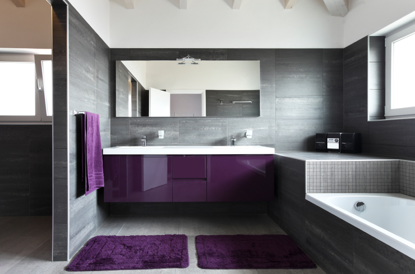 mirror in purple bathroom