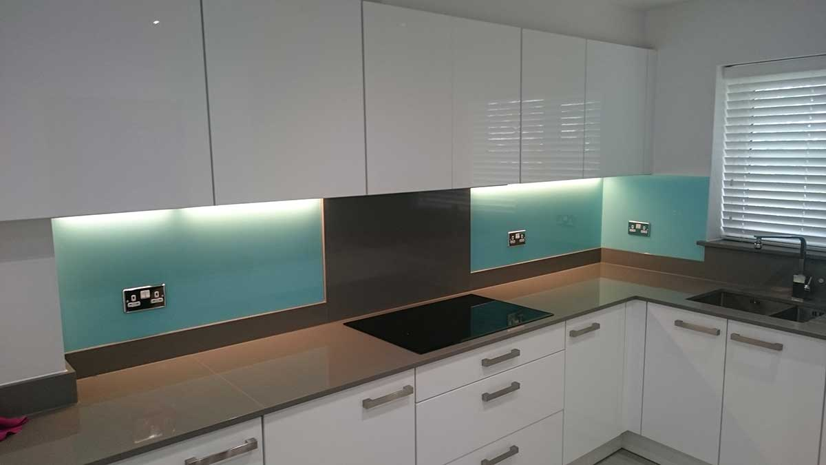 aqua blue glass kitchen splashback Buckinghamshire